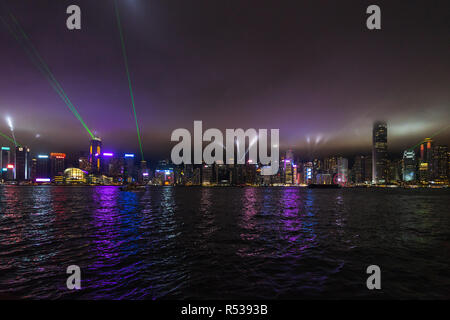Hong Kong Symphony of Lights is the world's largest permanent light and sound show according to Guinness World Records - Stock Photo