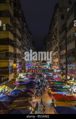 Night view of Fa Yuen street market in Mong Kok. Hong Kong markets are one of the most popular attraction of the city, Hong Kong, Kowloon - Stock Photo