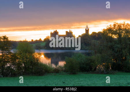 Sunrise, Linlithgow loch, peel, palace, West Lothian, Central Scotland UK. - Stock Photo