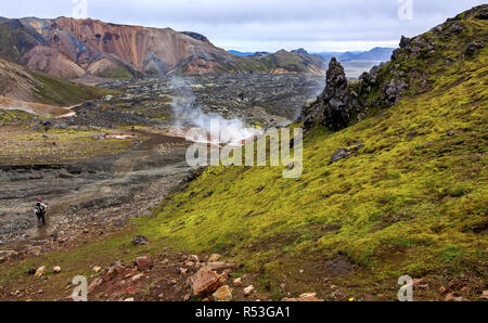 Geothermal springs in Iceland - landmark - Stock Photo