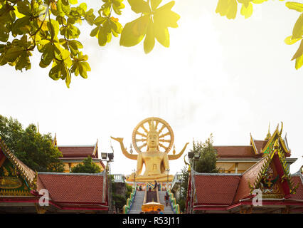 Sunset at Big Buddha Temple in Koh Samui, Thailand - Stock Photo