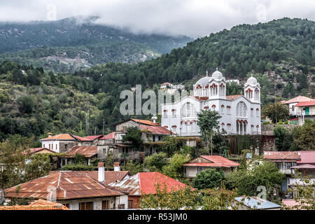 Pedoulas village in the Nicosia District of Cyprus, located in the Troodos Mountains. - Stock Photo