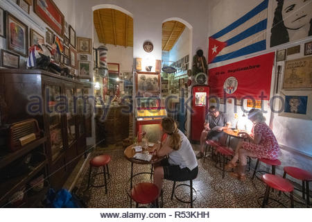 Santa Clara, Villa Clara, Cuba-November 4, 2018: 'Cafe Museo Revolucion'. The place is famous for all  the antiques related to the Cuban Revolution. W - Stock Photo