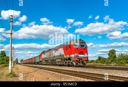 Freight train at Konyshevka station in Russia - Stock Photo