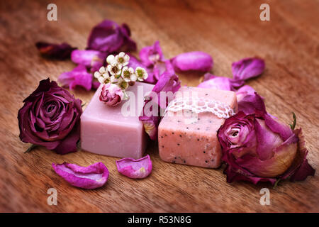 handmade soap with roses - Stock Photo