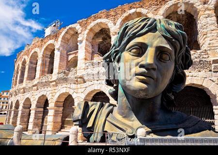 Roman amphitheatre Arena di Verona view - Stock Photo