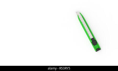 3d rendering of nice green utility knofe with white background - Stock Photo