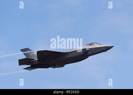 USAF F-35 Lightning II fighter jet plane at Royal International Air Tattoo, RIAT 2018, RAF Fairford. United States Air Force stealth fighter flying - Stock Photo