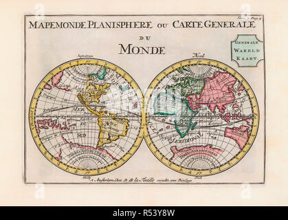 World map dating from the late 17th or early 18th century and published in Amsterdam showing the western and eastern hemispheres.  Amongst many inaccuracies, the California area is shown as an island. - Stock Photo