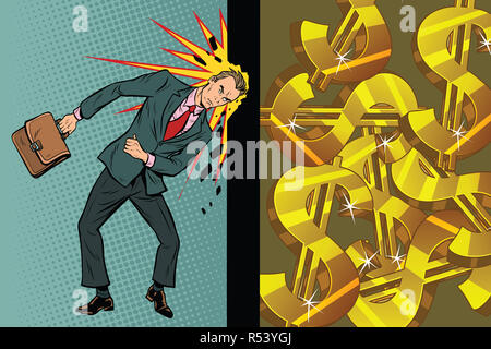 Businessman breaks the wall of his head, dollars and wealth - Stock Photo