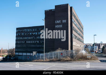 Cavendish House, seven storey, derelict eyesore building in the centre of Dudley, West Midlands - Stock Photo