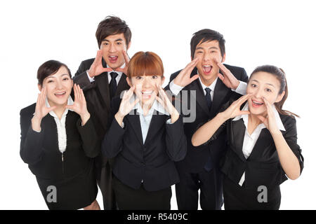 A group of business people shouting - Stock Photo