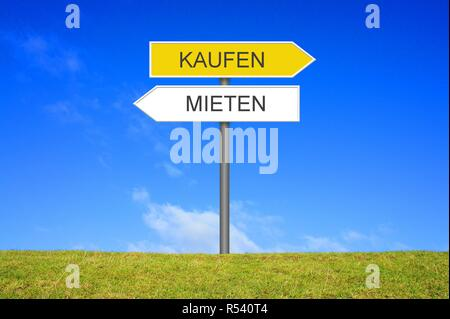 signpost sign shows buying or renting - Stock Photo