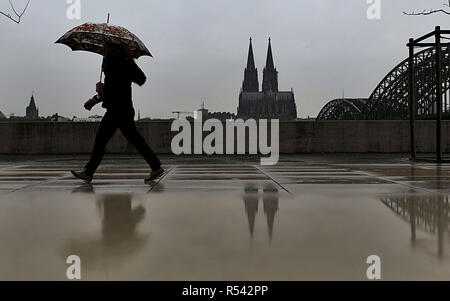 dpatop - 29 November 2018, North Rhine-Westphalia, Köln: A woman walks with her umbrella in the rain along the banks of the Rhine. - Alternative image detail - Photo: Oliver Berg/dpa Stock Photo