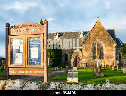 Athelstaneford, East Lothian, Scotland, United Kingdom, 29th November 2018. Birthplace of St Andrew's Cross, the saltire flag. On the eve of St Andrew's Day at Athelstaneford Parish church yard at the National Flag Heritage Centre. Legend says that on the eve of a battle between Picts and Angles from Northumbria in 832AD Saint Andrew had a vision of victory and when the Picts saw a white cross formed by clouds in a blue sky they attributed their victory to his blessing, adopting the cross as a flag - Stock Photo