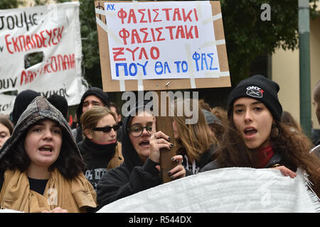 Athens, Greece. 29th Nov 2018. Students protest against the rising of fascism in Greek high schools in Athens, Greece. Credit: Nicolas Koutsokostas/Alamy Live News. - Stock Photo