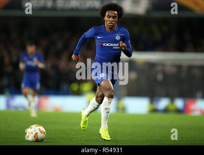 Stamford Bridge, London, UK. 29th Nov, 2018. UEFA Europa League football, Chelsea versus PAOK; Willian of Chelsea Credit: Action Plus Sports/Alamy Live News - Stock Photo