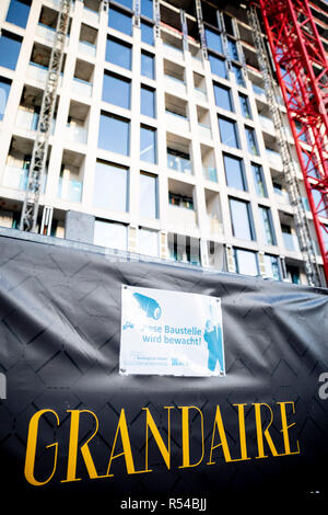Berlin, Germany. 29th Nov, 2018. The construction site of the Grandaire at Alexanderplatz. Building owners in Germany dress their objects in ever more unusual names. (to dpa ''Five friends' and 'Lady Di's love affair' - houses become brands' from 30.11.2018) Credit: Christoph Soeder/dpa/Alamy Live News - Stock Photo