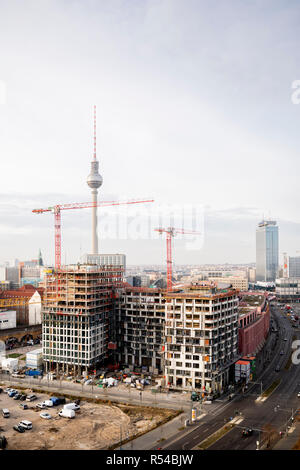 Berlin, Germany. 29th Nov, 2018. The construction site of the Grandaire at Alexanderplatz. Building owners in Germany dress their objects in ever more unusual names. Credit: Christoph Soeder/dpa/Alamy Live News - Stock Photo