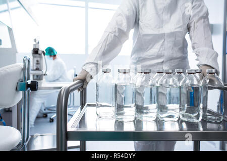 Pharmaceutical industry factory and production laboratory (color toned image  shallow DOF) - Stock Photo