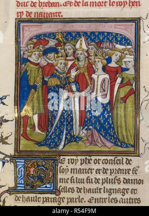 Marriage of King Philip III of France to Mary of Brabant. Chroniques de France ou de St. Denis. End of 14th century. (Miniature) Marriage of King Philip III of France to Mary of Brabant in 1274. Image taken from Chroniques de France ou de St. Denis. Originally published/produced in End of 14th century. Source: Royal 20 C. VII, f.10. Language: French. - Stock Photo