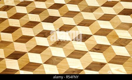 3d Wood Tiles - Stock Photo