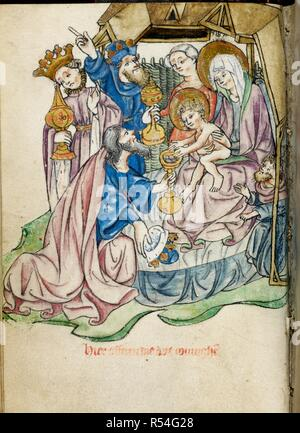 Adoration of the Magi. Book of Hours. N. Netherlands [Utrecht]; circa 1410-1420. [Whole folio] Office of Terce. The Virgin and Child in a house with wattled sides. A kneeling king offers a gold cup full of coins with which the child is playing. The other two kings, with gold cups, stand behind.  Image taken from Book of Hours.  Originally published/produced in N. Netherlands [Utrecht]; circa 1410-1420. . Source: Add. 50005, f.45v. Language: Dutch. Author: Workshop of the Master of the Morgan Infancy Cycle. - Stock Photo