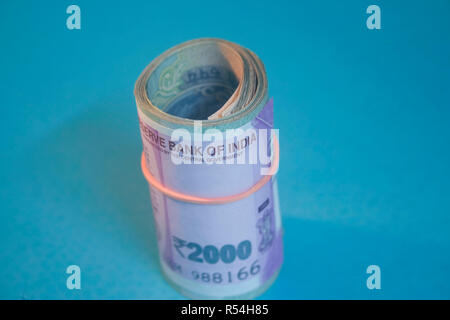 Indian currency one and five hundred one thousand rupees notes Bundle Reserve Bank Government of India show front side - Stock Photo