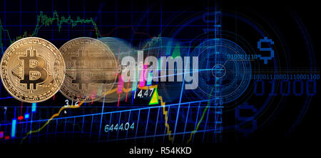 Business golden coin digital currency on stock market financial indicator background - Stock Photo