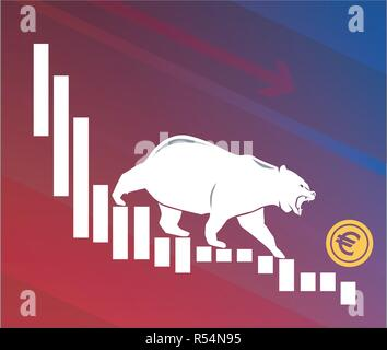 Bear moves Euro down on graph, negative currency market, red background - Stock Photo