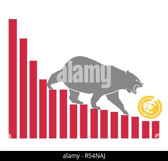 Bear moves Euro down on graph, negative currency market, white background - Stock Photo