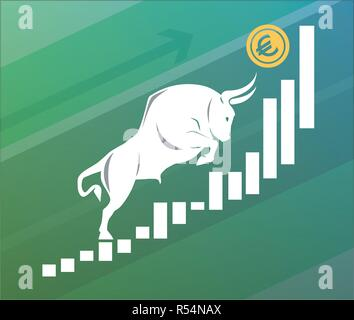 Bull moves Euro up on graph, positive currency market, green backgroundv - Stock Photo