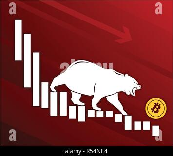 Bear moves Bitcoin down on graph, negative cryptocurrency market, red background - Stock Photo