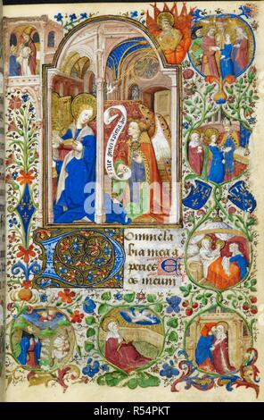 Miniature of the Annunciation, with the arms of Jean Comte de Dunois and seven scenes from the earlier life of the Virgin (anti-clockwise from upper left) in the border: Joachim's offering refused in the temple, the annunciation to Joachim, the annunciation to Anne, the meeting at the Golden Gate, the birth of the Virgin, the presentation of the Virgin in the temple, the betrothal of the Virgin to Joseph, at the beginning of Matins of the Virgin. Book of Hours, Use of Rome ('The Dunois Hours'). France, Central (Paris); c. 1440 - c. 1450 (after 1436). Source: Yates Thompson 3, f.37. Language: L - Stock Photo