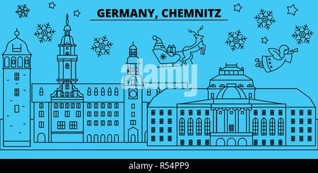 Germany, Chemnitz winter holidays skyline. Merry Christmas, Happy New Year decorated banner with Santa Claus.Germany, Chemnitz linear christmas city vector flat illustration - Stock Photo