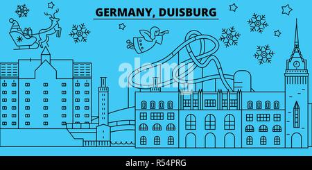 Germany, Duisburg winter holidays skyline. Merry Christmas, Happy New Year decorated banner with Santa Claus.Germany, Duisburg linear christmas city vector flat illustration - Stock Photo