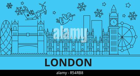 Great Britain, London winter holidays skyline. Merry Christmas, Happy New Year decorated banner with Santa Claus.Great Britain, London linear christmas city vector flat illustration - Stock Photo