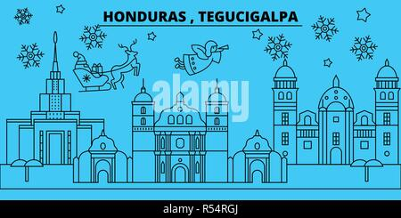 Honduras, Tegucigalpa winter holidays skyline. Merry Christmas, Happy New Year decorated banner with Santa Claus.Honduras, Tegucigalpa linear christmas city vector flat illustration - Stock Photo