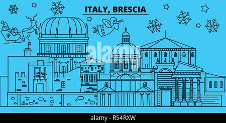 Italy, Brescia winter holidays skyline. Merry Christmas, Happy New Year decorated banner with Santa Claus.Italy, Brescia linear christmas city vector flat illustration - Stock Photo