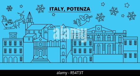 Italy, Potenza winter holidays skyline. Merry Christmas, Happy New Year decorated banner with Santa Claus.Italy, Potenza linear christmas city vector flat illustration - Stock Photo