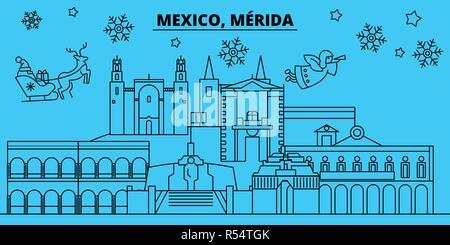 Mexico, Merida winter holidays skyline. Merry Christmas, Happy New Year decorated banner with Santa Claus.Mexico, Merida linear christmas city vector flat illustration - Stock Photo