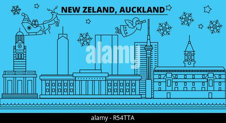 New Zealand, Auckland winter holidays skyline. Merry Christmas, Happy New Year decorated banner with Santa Claus.New Zealand, Auckland linear christmas city vector flat illustration - Stock Photo