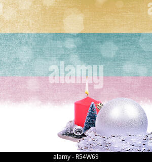 Christmas card with red candle, silver ball, fir-tree over grunge Lithuanian flag - Stock Photo