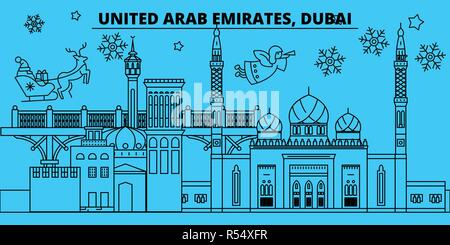 United Arab Emirates, Dubai city winter holidays skyline. Merry Christmas, Happy New Year  with Santa Claus.United Arab Emirates, Dubai city linear christmas city vector flat illustration - Stock Photo