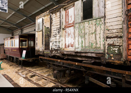 Old and vintage railway carriages / carriage awaiting restoration and refurbishment, in the Train Story museum main area at Havenstreet / Haven street station on the Isle of Wight steam Railway railway. Isle of Wight, UK. (98) - Stock Photo