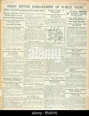 'Great British bombardment on 90 mile front'. A newspaper report during the First World War. The Sketch. London, 1916. Source: The Sketch, 30 June 1916, page 3. - Stock Photo