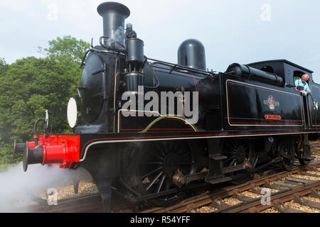 Steam train engine named 'Calbourne' running on the Isle of Wight steam Railway line. Station at Havenstreet Main Road, Haven street, Ryde, Isle of Wight. UK. (98) - Stock Photo