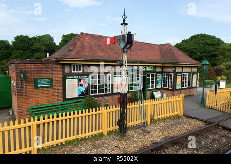 Station signal box on the Isle of Wight steam Railway line. Station, Haven Street / Havenstreet, Ryde, UK. (98) - Stock Photo