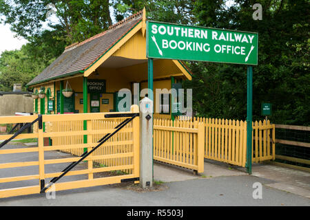 Booking office / ticket sales box / building & Southern Railway sign on the Isle of Wight steam Railway line. Station, Haven Street / Havenstreet, Ryde, UK. (98) - Stock Photo
