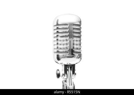 Vintage retro microphone isolated on white background - Stock Photo